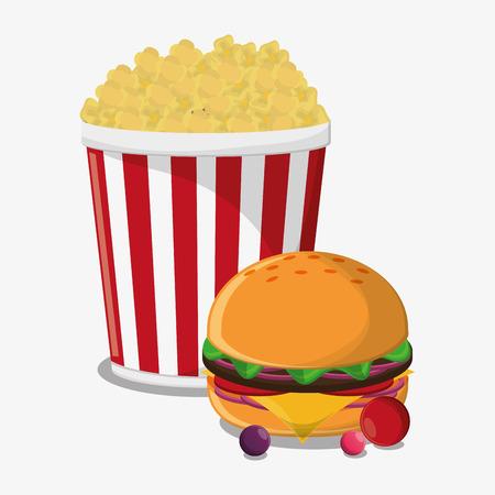 pop corn: Pop corn and hamburger icon. Fast carnival food and menu theme. Colorful design. Vector illustratio