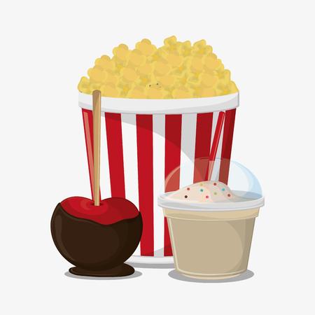 pop corn: Pop corn and milkshake icon. Fast carnival food and menu theme. Colorful design. Vector illustratio
