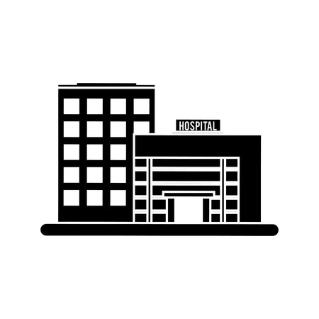 biomedical: Hospital building icon. Medical and health care theme. Isolated and silhouette design. Vector illustration