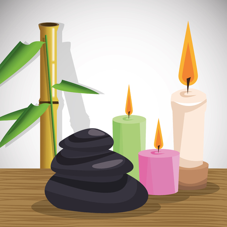 Candles bamboo and stones icon. Spa center and healthy lifestyle theme. Colorful design. Vector illustration Illustration