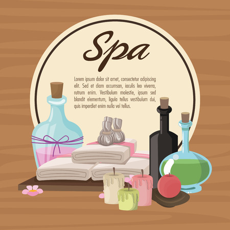 towels: Towels oils and candles icon. Spa center and healthy lifestyle theme. Colorful design. Vector illustration