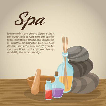 pampering: Stones bowl and oils icon. Spa center and healthy lifestyle theme. Colorful design. Vector illustration