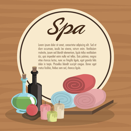 retreats: Towels oils and candles icon. Spa center and healthy lifestyle theme. Colorful design. Vector illustration