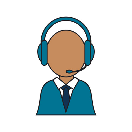 telemarketer: Operator man icon. Call center technical service and online support theme. Isolated design. Vector illustration Illustration