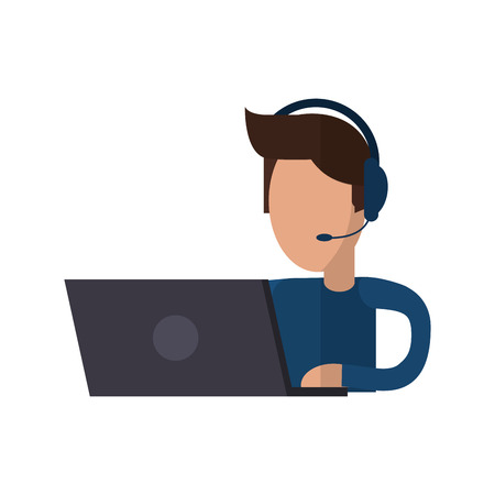 telemarketer: Operator man with laptop icon. Call center technical service and online support theme. Isolated design. Vector illustration Illustration