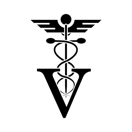 bonding: Caduceus and vet icon. Medical and health care theme. Isolated design. Vector illustration