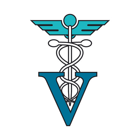 trusting: Caduceus and vet icon. Medical and health care theme. Isolated design. Vector illustration