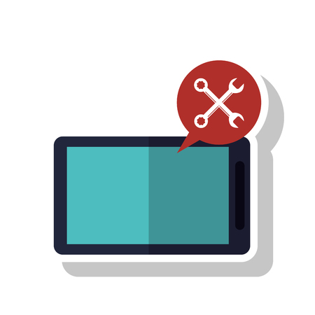 coworker: Smartphone bubble and wrench icon. Call center technical service and online support theme. Isolated design. Vector illustration