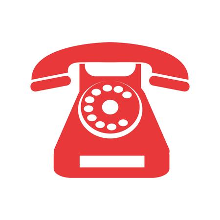 Icône de téléphone rétro. Appelez la communication téléphonique et le thème de contact. Conception isolée. Illustration vectorielle Vecteurs