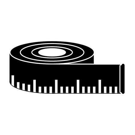 millimeter: Meter tape icon. Measure tool and instrument theme. Isolated design. Vector illustration