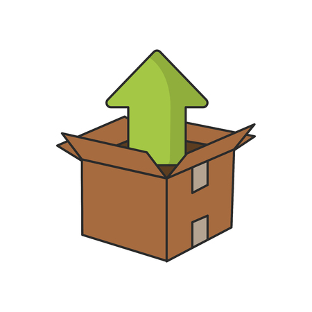 orientation marker: Upload arrow inside box icon. Digital web application and technology theme. Isolated design. Vector illustration
