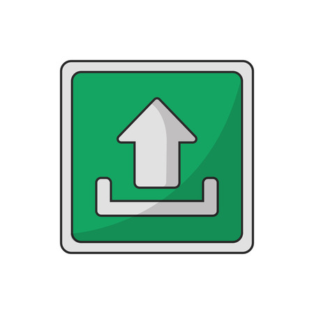 digital indicator: Upload arrow inside frame icon. Digital web application and technology theme. Isolated design. Vector illustration Illustration