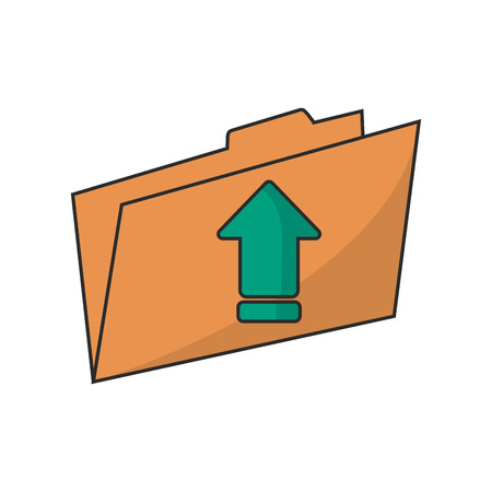 digital indicator: Upload arrow and file icon. Digital web application and technology theme. Isolated design. Vector illustration