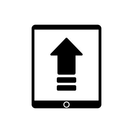 orientation marker: Upload arrow inside tablet icon. Digital web application and technology theme. Isolated design. Vector illustration Illustration
