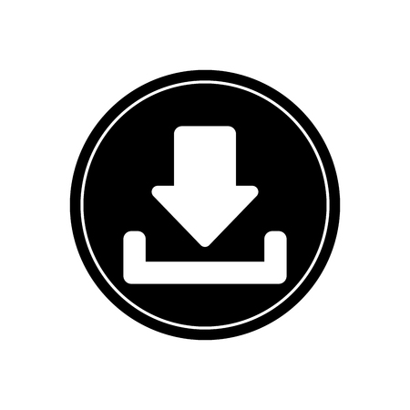 orientation marker: Download arrow inside button icon. Digital web application and technology theme. Isolated design. Vector illustration Illustration