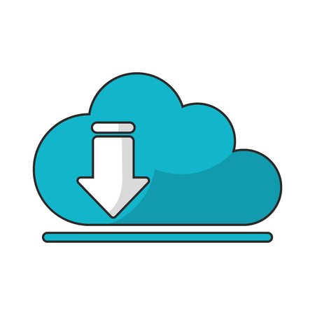 orientation marker: Download arrow and cloud computing icon. Digital web application and technology theme. Isolated design. Vector illustration Illustration