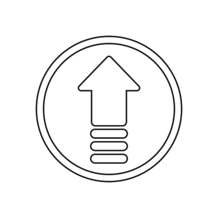 orientation marker: Upload arrow inside button icon. Digital web application and technology theme. Isolated design. Vector illustration