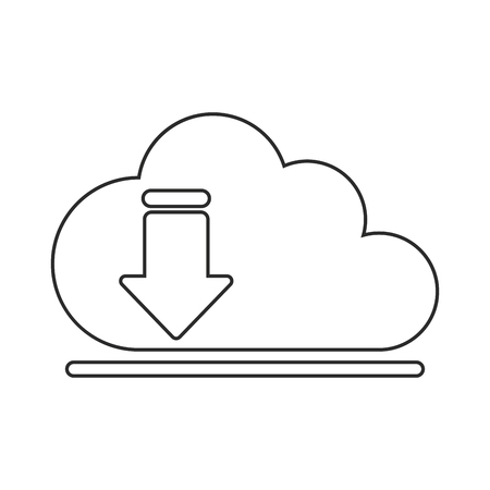 digital indicator: Download arrow and cloud computing icon. Digital web application and technology theme. Isolated design. Vector illustration Illustration
