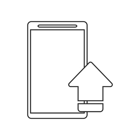 orientation marker: Upload arrow and smartphone icon. Digital web application and technology theme. Isolated design. Vector illustration Illustration