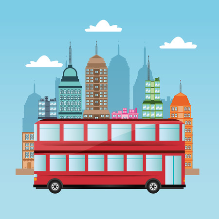 transporter: bus vehicle and city icon. transportation travel and trip theme. Colorful design. Vector illustration