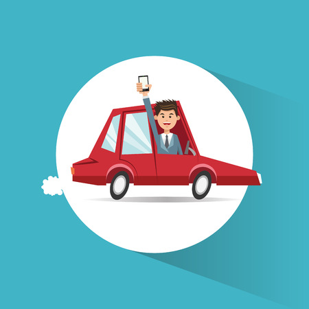 Car vehicle and man with smartphone icon. transportation travel and trip theme. Colorful design. Vector illustration Illustration