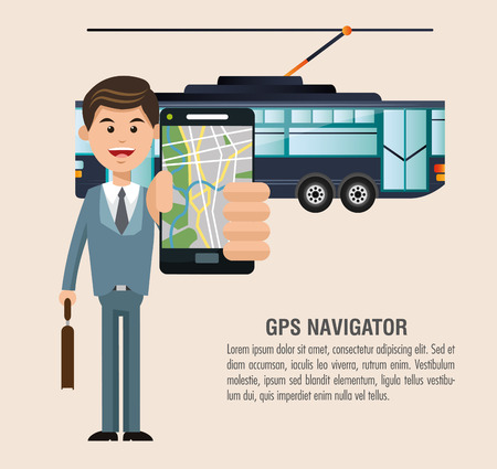 transporter: Tram vehicle and man with smartphone icon. transportation travel and trip theme. Colorful design. Vector illustration Illustration