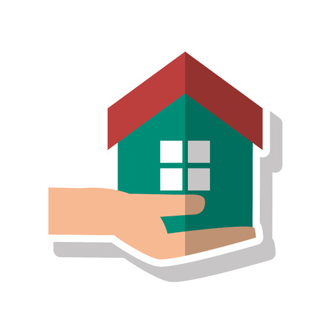 home buyer: House and home over hand icon. Real estate construction property and investment theme. Isolated design. Vector illustration Illustration