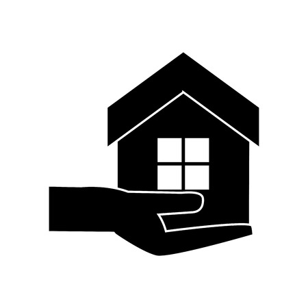 House and home over hand icon. Real estate construction property and investment theme. Isolated design. Vector illustration Ilustrace
