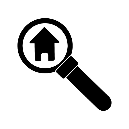 home buyer: House and home inside lupe icon. Real estate construction property and investment theme. Isolated design. Vector illustration