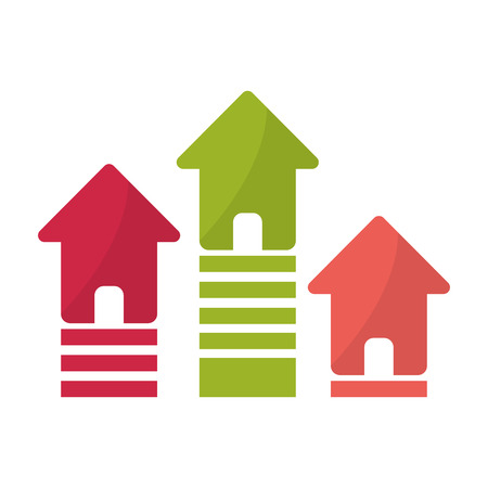 home buyer: House and striped home icon. Real estate construction property and investment theme. Isolated design. Vector illustration Illustration