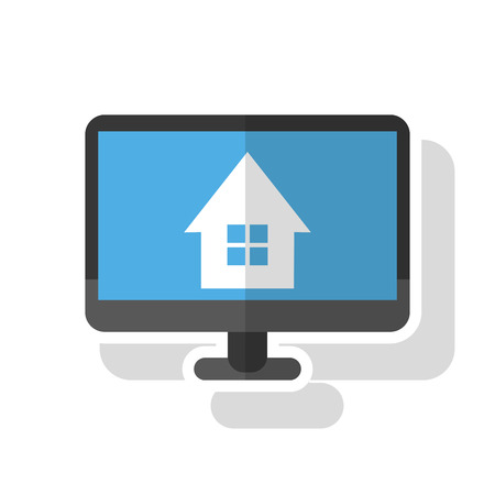 home buyer: House inside computer icon. Real estate construction property and investment theme. Isolated design. Vector illustration