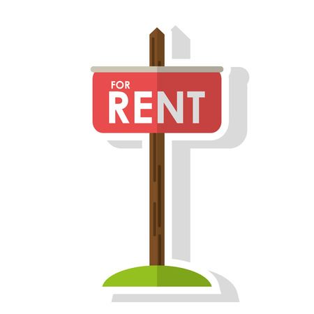 road design: Rent road sign icon. Real estate construction property and investment theme. Isolated design. Vector illustration