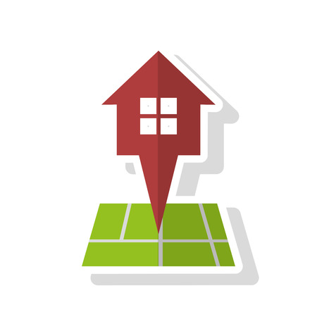 home buyer: House and gps icon. Real estate construction property and investment theme. Isolated design. Vector illustration Illustration