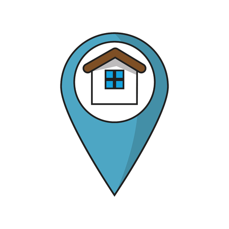 home buyer: House inside gps button icon. Real estate construction property and investment theme. Isolated design. Vector illustration