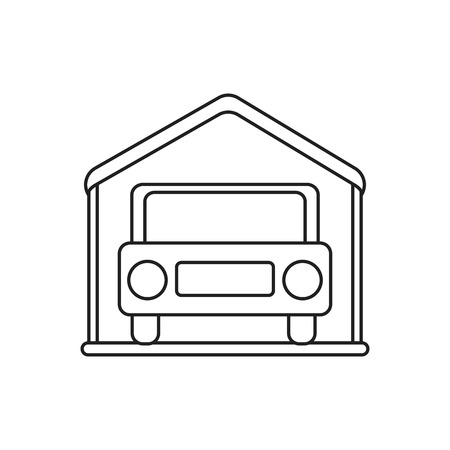home buyer: Car inside house icon. Real estate construction property and investment theme. Isolated design. Vector illustration