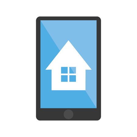 home buyer: House inside smartphone icon. Real estate construction property and investment theme. Isolated design. Vector illustration Illustration