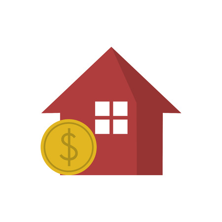 home buyer: House and coin icon. Real estate construction property and investment theme. Isolated design. Vector illustration