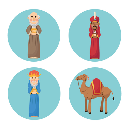 fine art: Three wise men cartoon with gift and camels icon. Holy family and merry christmas season theme. Colorful design. Vector illustration