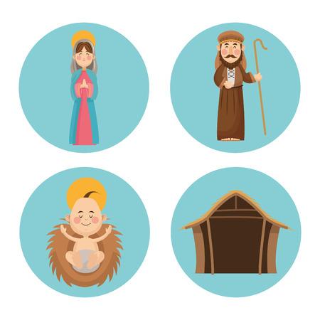 nativety: Baby jesus mary and joseph cartoon icon. Holy family and merry christmas season theme. Colorful design. Vector illustration
