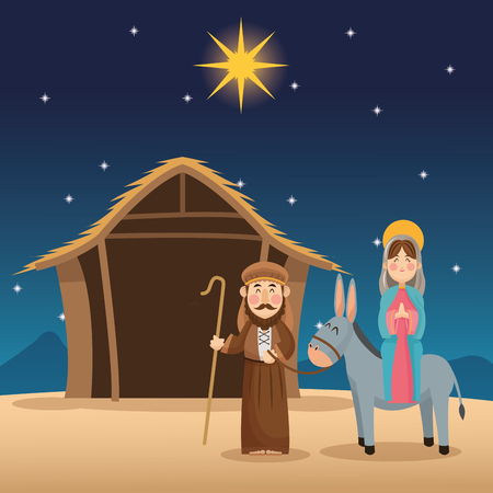 conception: Mary and joseph cartoon icon. Holy family and merry christmas season theme. Colorful design. Vector illustration