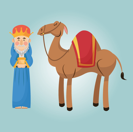 Wise man cartoon with gift icon. Holy family and merry christmas season theme. Colorful design. Vector illustration
