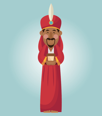 wise man: Wise man cartoon with gift icon. Holy family and merry christmas season theme. Colorful design. Vector illustration