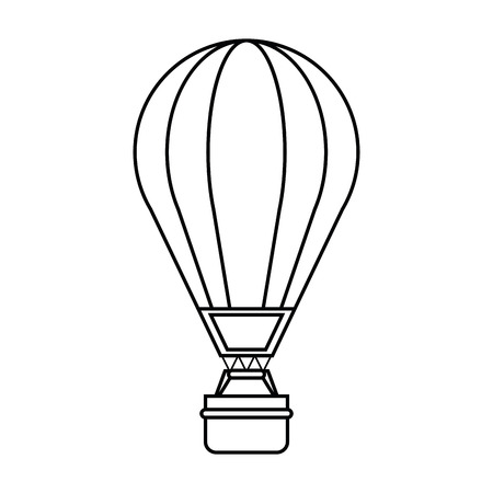 Hot air balloon icon. transportation vehicle travel and trip theme. Isolated and silhouette design. Vector illustration Illustration