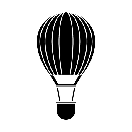 Hot air balloon icon. transportation vehicle travel and trip theme. Isolated and silhouette design. Vector illustration Ilustração