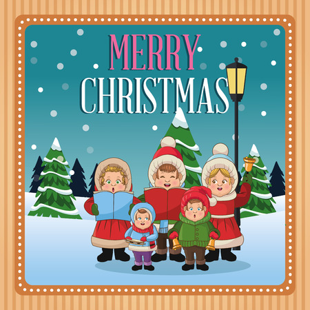 Singing cartoon inside frame icon. Christmas season card decoration and celebration theme. Colorful design. Vector illustration
