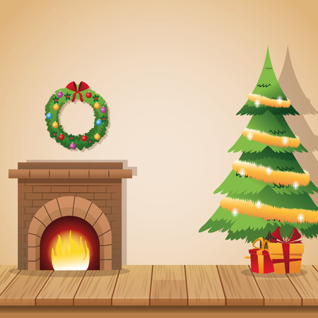 corona navidad: Chimney pine tree gifts and crown icon. Christmas season card decoration and celebration theme. Colorful design. Vector illustration Vectores