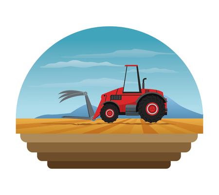 cultivated land: Truck machine over landscape icon. Farm lifestyle agriculture harvest and rural theme. Colorful design. Vector illustration Illustration
