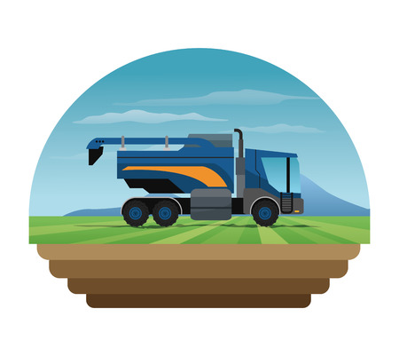 Truck machine over landscape icon. Farm lifestyle agriculture harvest and rural theme. Colorful design. Vector illustration Illustration