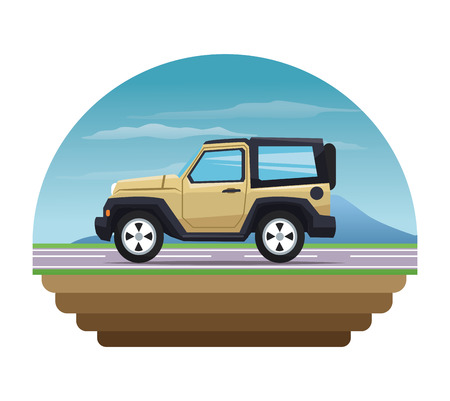 jeep: Jeep icon. Vehicle transportation travel and trip theme. Colorful design. Vector illustration