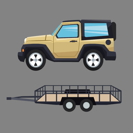 transporter: car and trailer icon. Vehicle transportation travel and trip theme. Colorful design. Vector illustration